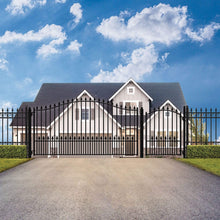 Load image into Gallery viewer, ALEKO Gates and Fences Black ALEKO Products Steel Single Swing Driveway Gate - MUNICH Style - 18 ft with Pedestrian Gate - 5 ft SET18X4MUNS-AP