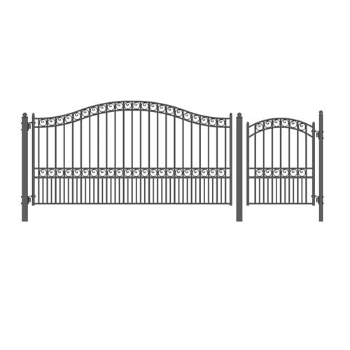 ALEKO Gates and Fences Black ALEKO Products Steel Single Swing Driveway Gate - PARIS Style - 12 ft with Pedestrian Gate - 5 ft SET12X4PARS-AP