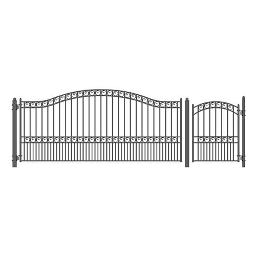 ALEKO Gates and Fences Black ALEKO Products Steel Single Swing Driveway Gate - PARIS Style - 14 ft with Pedestrian Gate - 5 ft SET14X4PARS-AP