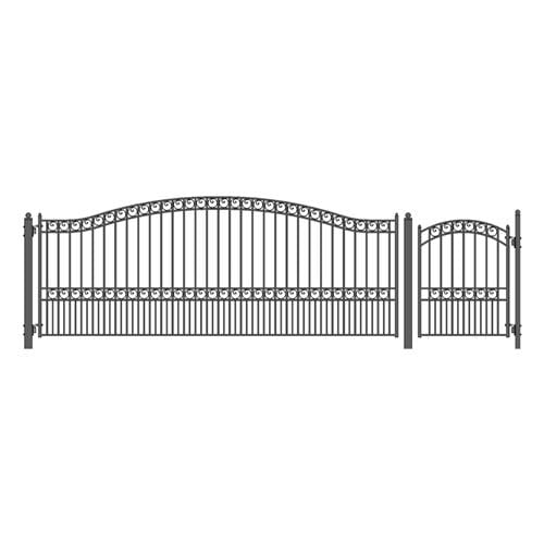 ALEKO Gates and Fences Black ALEKO Products Steel Single Swing Driveway Gate - PARIS Style - 16 ft with Pedestrian Gate - 5 ft SET16X4PARS-AP