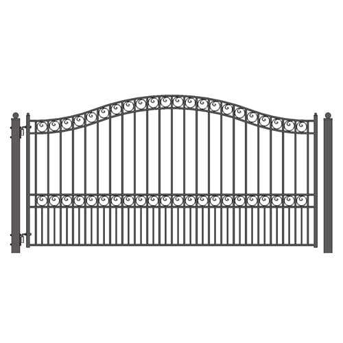 ALEKO Gates and Fences Black ALEKO Products Steel Single Swing Driveway Gate - PARIS Style - 16 x 6 Feet DG16PARSSW-AP