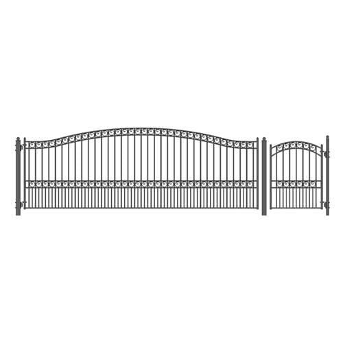 ALEKO Gates and Fences Black ALEKO Products Steel Single Swing Driveway Gate - PARIS Style - 18 ft with Pedestrian Gate - 5 ft SET18X4PARS-AP