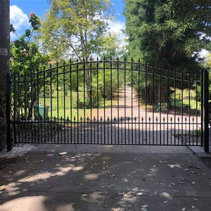ALEKO Gates and Fences Black ALEKO Products Steel Single Swing Driveway Gate - PRAGUE Style - 12 x 6 Feet DG12PRASSW-AP