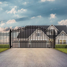 Load image into Gallery viewer, ALEKO Gates and Fences Black ALEKO Products Steel Single Swing Driveway Gate - PRAGUE Style - 12 x 6 Feet DG12PRASSW-AP