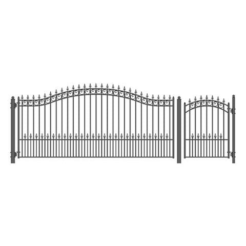 Image of ALEKO Gates and Fences Black ALEKO Products Steel Single Swing Driveway Gate - PRAGUE Style - 14 ft with Pedestrian Gate - 5 ft SET14X4PRAS-AP
