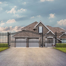 Load image into Gallery viewer, ALEKO Gates and Fences Black ALEKO Products Steel Single Swing Driveway Gate - PRAGUE Style - 14 ft with Pedestrian Gate - 5 ft SET14X4PRAS-AP