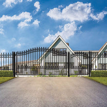 Load image into Gallery viewer, ALEKO Gates and Fences Black ALEKO Products Steel Single Swing Driveway Gate - PRAGUE Style - 18 ft with Pedestrian Gate - 5 ft SET18X4PRAS-AP