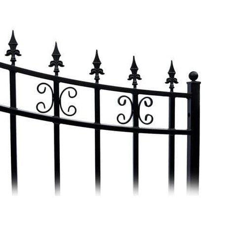Image of ALEKO Gates and Fences Black ALEKO Products Steel Single Swing Driveway Gate - ST.PETERSBURG Style - 12 x 6 Feet DG12SPTSSW-AP