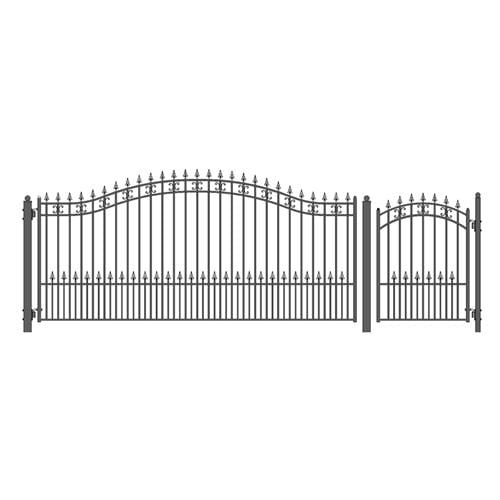 ALEKO Gates and Fences Black ALEKO Products Steel Single Swing Driveway Gate - ST.PETERSBURG Style - 14 ft with Pedestrian Gate - 5 ft SET14X4STPS-AP