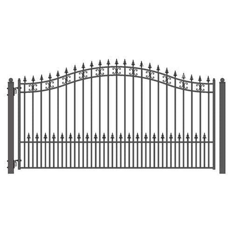 Image of ALEKO Gates and Fences Black ALEKO Products Steel Single Swing Driveway Gate - ST.PETERSBURG Style - 18 x 6 Feet DG18SPTSSW-AP