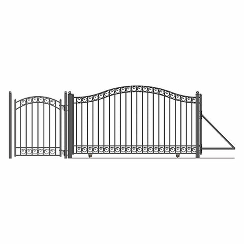 ALEKO Gates and Fences Black ALEKO Products Steel Sliding Driveway Gate - 12 ft with Pedestrian Gate - 5 ft - DUBLIN Style DG12DUBSSLPED-AP