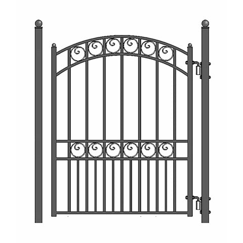 Image of ALEKO Gates and Fences Black ALEKO Products Steel Sliding Driveway Gate - 12 ft with Pedestrian Gate - 5 ft - PARIS Style DG12PARSSLPED-AP