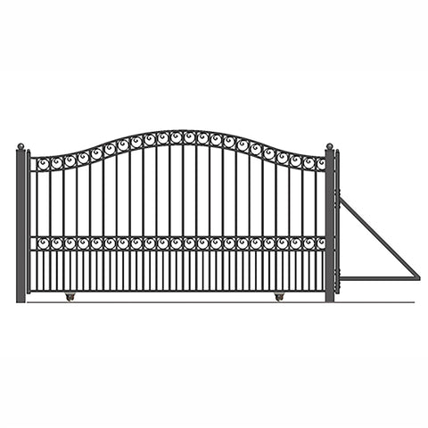 ALEKO Gates and Fences Black ALEKO Products Steel Sliding Driveway Gate - 12 ft with Pedestrian Gate - 5 ft - PARIS Style DG12PARSSLPED-AP