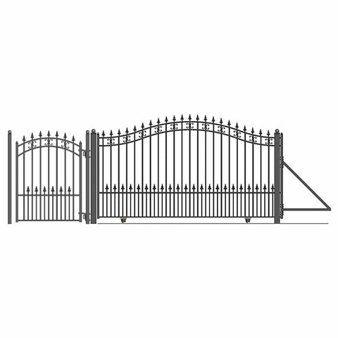 Image of ALEKO Gates and Fences Black ALEKO Products Steel Sliding Driveway Gate - 12 ft with Pedestrian Gate - 5 ft - ST. PETERSBURG Style DG12STPSSLPED-AP