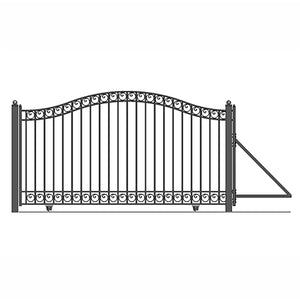 ALEKO Gates and Fences Black ALEKO Products Steel Sliding Driveway Gate - 14 ft with Pedestrian Gate - 5 ft - DUBLIN Style DG14DUBSSLPED-AP