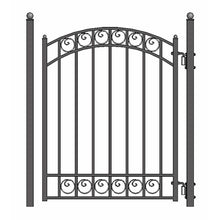 Load image into Gallery viewer, ALEKO Gates and Fences Black ALEKO Products Steel Sliding Driveway Gate - 14 ft with Pedestrian Gate - 5 ft - DUBLIN Style DG14DUBSSLPED-AP