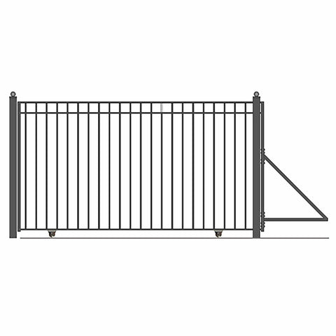Image of ALEKO Gates and Fences Black ALEKO Products Steel Sliding Driveway Gate - 14 ft with Pedestrian Gate - 5 ft - MADRID Style DG14MADSSLPED-AP