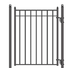 Load image into Gallery viewer, ALEKO Gates and Fences Black ALEKO Products Steel Sliding Driveway Gate - 14 ft with Pedestrian Gate - 5 ft - MADRID Style DG14MADSSLPED-AP