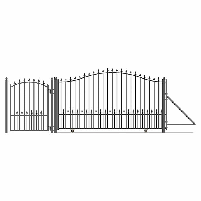 ALEKO Gates and Fences Black ALEKO Products Steel Sliding Driveway Gate - 14 ft with Pedestrian Gate - 5 ft - MUNICH Style DG14MUNSSLPED-AP