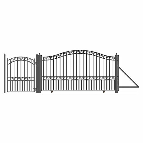 ALEKO Gates and Fences Black ALEKO Products Steel Sliding Driveway Gate - 14 ft with Pedestrian Gate - 5 ft - PARIS Style DG14PARSSLPED-AP