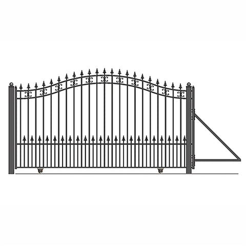 Image of ALEKO Gates and Fences Black ALEKO Products Steel Sliding Driveway Gate - 14 ft with Pedestrian Gate - 5 ft - ST. PETERSBURG Style DG14STPSSLPED-AP