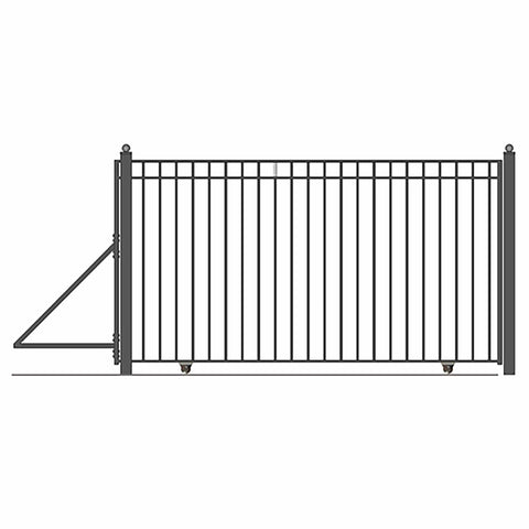 Image of ALEKO Gates and Fences Black ALEKO Products Steel Sliding Driveway Gate - 16 ft with Pedestrian Gate - 5 ft - MADRID Style 648236980545