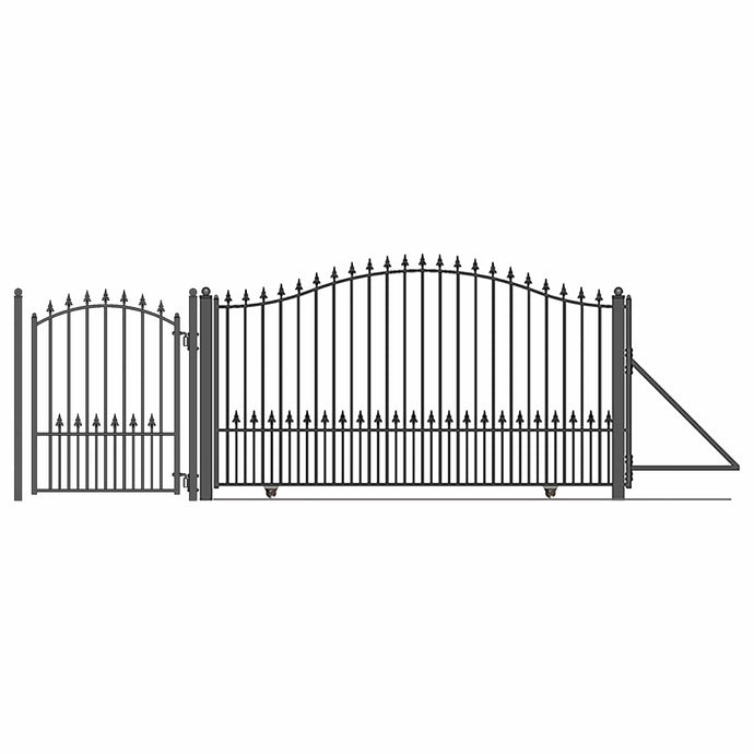 ALEKO Gates and Fences Black ALEKO Products Steel Sliding Driveway Gate - 16 ft with Pedestrian Gate - 5 ft - MUNICH Style DG16MUNSSLPED-AP