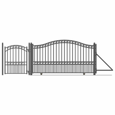 Image of ALEKO Gates and Fences Black ALEKO Products Steel Sliding Driveway Gate - 16 ft with Pedestrian Gate - 5 ft - PARIS Style DG16PARSSLPED-AP