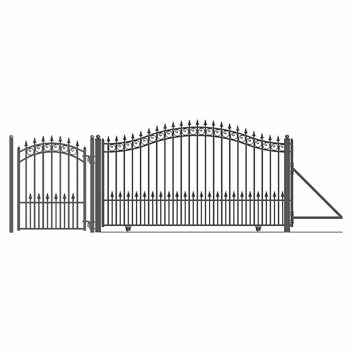 ALEKO Gates and Fences Black ALEKO Products Steel Sliding Driveway Gate - 16 ft with Pedestrian Gate - 5 ft - PRAGUE Style DG16PRASSLPED-AP