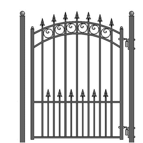 Image of ALEKO Gates and Fences Black ALEKO Products Steel Sliding Driveway Gate - 16 ft with Pedestrian Gate - 5 ft - PRAGUE Style DG16PRASSLPED-AP