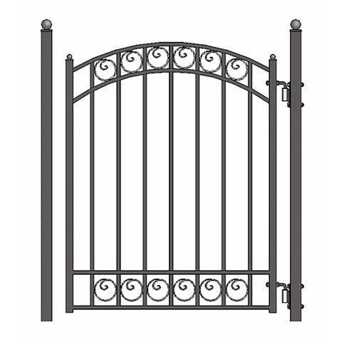 ALEKO Gates and Fences Black ALEKO Products Steel Sliding Driveway Gate - 18 ft with Pedestrian Gate - 5 ft - DUBLIN Style DG18DUBSSLPED-AP