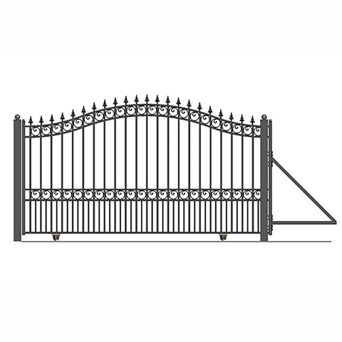 ALEKO Gates and Fences Black ALEKO Products Steel Sliding Driveway Gate - 18 ft with Pedestrian Gate - 5 ft - LONDON Style DG18LONSSLPED-AP
