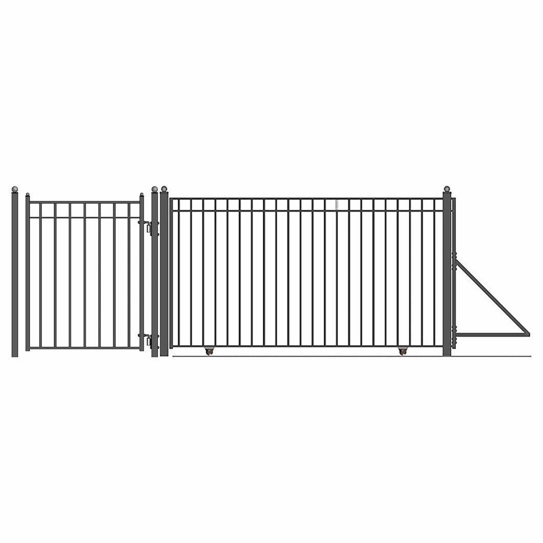 ALEKO Gates and Fences Black ALEKO Products Steel Sliding Driveway Gate - 18 ft with Pedestrian Gate - 5 ft - MADRID Style DG18MADSSLPED-AP
