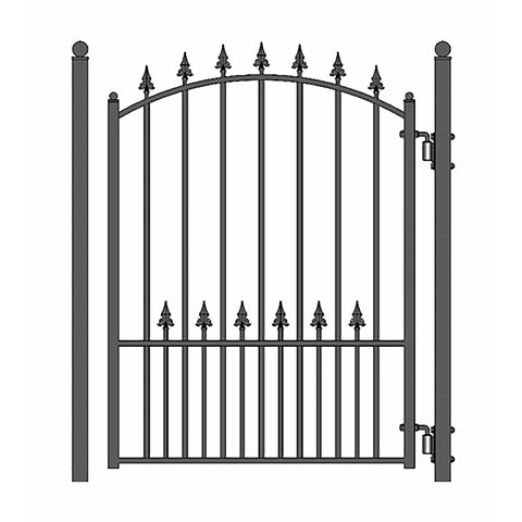 ALEKO Gates and Fences Black ALEKO Products Steel Sliding Driveway Gate - 18 ft with Pedestrian Gate - 5 ft - MUNICH Style DG18MUNSSLPED-AP