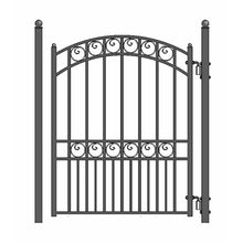 Load image into Gallery viewer, ALEKO Gates and Fences Black ALEKO Products Steel Sliding Driveway Gate - 18 ft with Pedestrian Gate - 5 ft - PARIS Style DG18PARSSLPED-AP