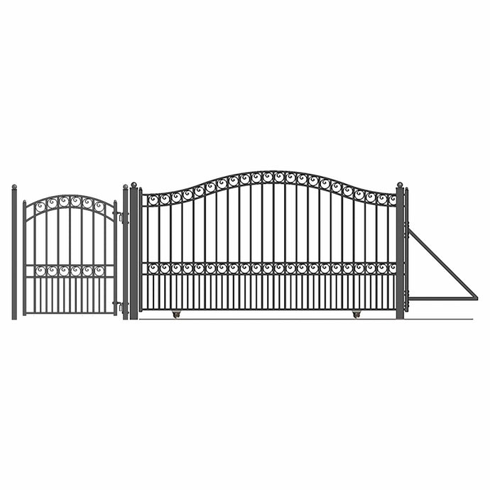 ALEKO Gates and Fences Black ALEKO Products Steel Sliding Driveway Gate - 18 ft with Pedestrian Gate - 5 ft - PARIS Style DG18PARSSLPED-AP