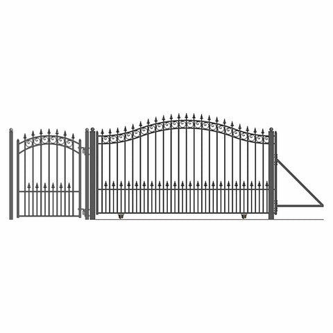 Image of ALEKO Gates and Fences Black ALEKO Products Steel Sliding Driveway Gate - 18 ft with Pedestrian Gate - 5 ft - PRAGUE Style DG18PRASSLPED-AP