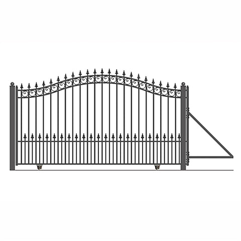 ALEKO Gates and Fences Black ALEKO Products Steel Sliding Driveway Gate - 18 ft with Pedestrian Gate - 5 ft - PRAGUE Style DG18PRASSLPED-AP