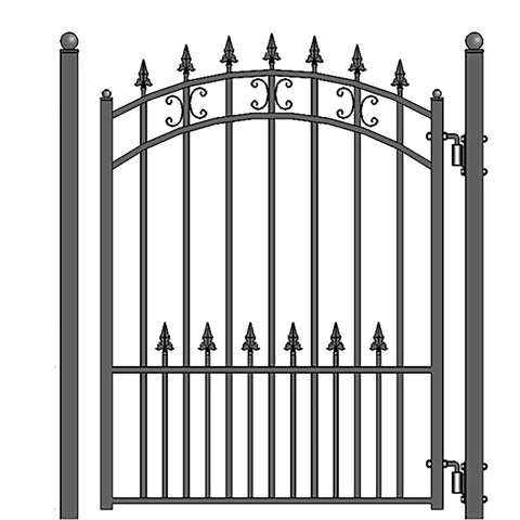 ALEKO Gates and Fences Black ALEKO Products Steel Sliding Driveway Gate - 18 ft with Pedestrian Gate - 5 ft - ST. PETERSBURG Style DG18STPSSLPED-AP