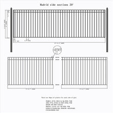 Load image into Gallery viewer, ALEKO Gates and Fences Black ALEKO Products Steel Sliding Driveway Gate - 20 ft with Pedestrian Gate - 5 ft - MADRID Style DG20MADSSLPED-AP