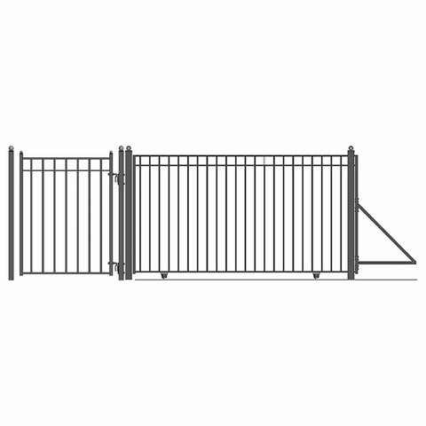 ALEKO Gates and Fences Black ALEKO Products Steel Sliding Driveway Gate - 30 ft with Pedestrian Gate - 5 ft - MADRID Style DG30MADSSLPED-AP