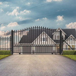 ALEKO Gates and Fences Black ALEKO Products Steel Sliding Driveway Gate - MUNICH Style - 16 x 6 Feet DG16MUNSSL-AP