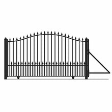 Load image into Gallery viewer, ALEKO Gates and Fences Black ALEKO Products Steel Sliding Driveway Gate - MUNICH Style - 16 x 6 Feet DG16MUNSSL-AP
