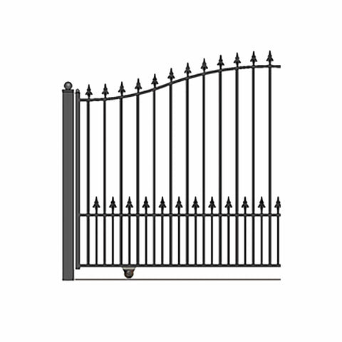 Image of ALEKO Gates and Fences Black ALEKO Products Steel Sliding Driveway Gate - MUNICH Style - 16 x 6 Feet DG16MUNSSL-AP