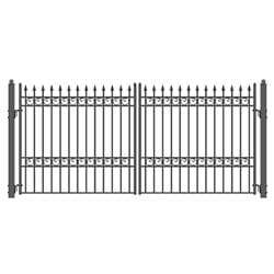 Image of ALEKO Gates Black ALEKO Products Steel Dual Swing Driveway Gate - OSLO Style - 16 x 6 Feet DG16OSLD-AP