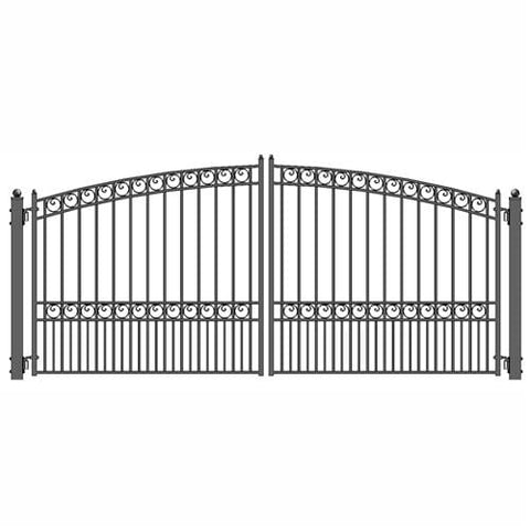 Image of ALEKO Gates Black ALEKO Products Steel Dual Swing Driveway Gate - PARIS Style - 12 x 6 Feet DG12PARD-AP