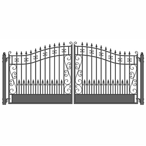 ALEKO Gates Black ALEKO Products Steel Dual Swing Driveway Gate - VENICE Style - 12 x 6 Feet DG12VEND-AP