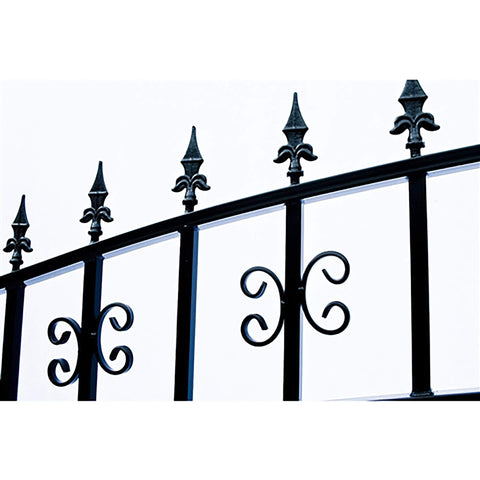 ALEKO Gates Black ALEKO Products Steel Dual Swing Driveway Gate - VENICE Style - 16 x 6 Feet DG16VEND-AP