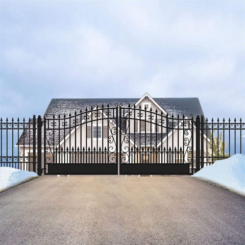 ALEKO Gates Black ALEKO Products Steel Dual Swing Driveway Gate - VENICE Style - 18 x 6 Feet DG18VEND-AP
