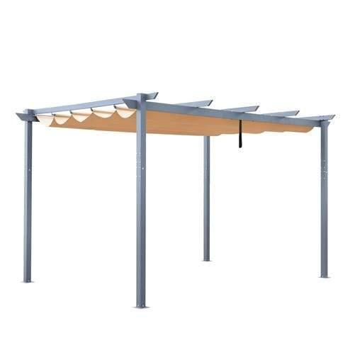 ALEKO Outdoor ALEKO Products Aluminum Outdoor Retractable Canopy Pergola - 13 x 10 Ft - Sand Color PERGSAND10X13-AP PERGSAND10X13-AP